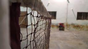 Δικαστήριο μπάντμιντον και καθαρή οριζόντια άποψη Στοκ φωτογραφία με δικαίωμα ελεύθερης χρήσης
