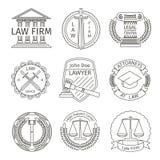 Δικαστικά και νομικά στοιχεία λογότυπων στο ύφος γραμμών διανυσματική απεικόνιση