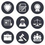 Δικηγόρος, κλίμακες των εικονιδίων δικαιοσύνης Σφυρί δημοπρασίας απεικόνιση αποθεμάτων