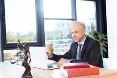 Δικηγόρος που εργάζεται με το lap-top Στοκ φωτογραφία με δικαίωμα ελεύθερης χρήσης