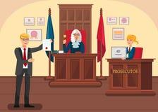 Δικηγόρος που παρέχει την επίπεδη διανυσματική απεικόνιση στοιχείων ελεύθερη απεικόνιση δικαιώματος