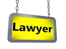 Δικηγόρος στον πίνακα διαφημίσεων απεικόνιση αποθεμάτων