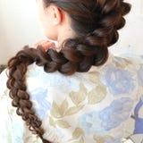Δικτυωτή γαλλική πλεξούδα, hairstyle με το μακροχρόνιο μήκος της τρίχας στοκ φωτογραφίες