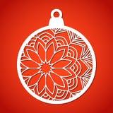 Δικτυωτό μπιχλιμπίδι Χριστουγέννων Τέμνον πρότυπο λέιζερ Στοκ Εικόνες
