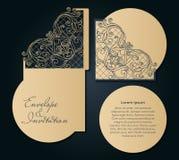 Δικτυωτό πρότυπο για την κοπή λέιζερ Διακοσμητικός φάκελος γαμήλιας πρόσκλησης Swirly απεικόνιση αποθεμάτων