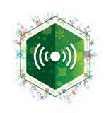 Δικτύων σημάτων πράσινο hexagon κουμπί σχεδίων εγκαταστάσεων εικονιδίων floral ελεύθερη απεικόνιση δικαιώματος