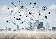 Δικτύωση και κοινωνική επικοινωνία ως μέσα για την αποτελεσματική επιχειρησιακή στρατηγική Στοκ Εικόνα