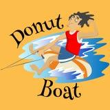 Διογκώσιμος ακραίος αθλητισμός νερού βαρκών μπανανών watercraft, απομονωμένο στοιχείο σχεδίου για την έννοια δραστηριότητας θεριν απεικόνιση αποθεμάτων