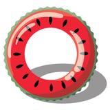 Διογκώσιμος κύκλος κινούμενων σχεδίων για την κολύμβηση Απεικόνιση ενός διογκώσιμου κύκλου υπό μορφή καρπουζιού για τη λίμνη Α απεικόνιση αποθεμάτων