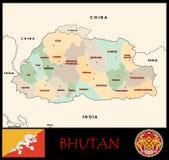 Διοικητικά τμήματα του Μπουτάν Στοκ Εικόνες