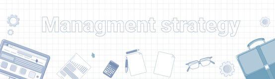 Διοικητική στρατηγική Word στην τακτοποιημένη έννοια επιχειρησιακού προγραμματισμού εμβλημάτων υποβάθρου οριζόντια διανυσματική απεικόνιση