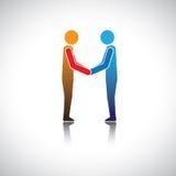 Διοικητικοί συνεργάτες, επιχειρηματίες ή φίλοι που χαιρετούν το κούνημα χεριών ελεύθερη απεικόνιση δικαιώματος