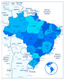 Διοικητικός μπλε χάρτης τμημάτων της Βραζιλίας Στοκ φωτογραφία με δικαίωμα ελεύθερης χρήσης