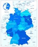 Διοικητικός μπλε χάρτης τμημάτων της Γερμανίας Στοκ εικόνες με δικαίωμα ελεύθερης χρήσης