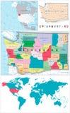 Διοικητικός χάρτης πολιτεία της Washington και μεγάλο σύνολο ναυσιπλοΐας Στοκ εικόνα με δικαίωμα ελεύθερης χρήσης