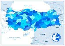 Διοικητικός χάρτης της Τουρκίας στα μπλε χρώματα Στοκ Φωτογραφίες