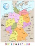 Διοικητικός χάρτης τμημάτων της Γερμανίας με τα επίπεδα εικονίδια Στοκ Φωτογραφίες