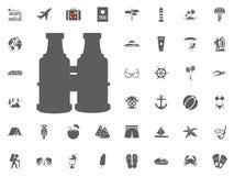 διοφθαλμικό εικονίδιο Καλοκαιρινές διακοπές και διακινούμενα διανυσματικά εικονίδια καθορισμένες Στοκ εικόνες με δικαίωμα ελεύθερης χρήσης