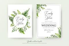 Διπλάσιο ύφους γαμήλιου το floral watercolor προσκαλεί, πρόσκληση, εκτός από ελεύθερη απεικόνιση δικαιώματος