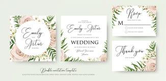Διπλάσιο ύφους γαμήλιου το floral watercolor προσκαλεί, rsvp, σας ευχαριστεί γ απεικόνιση αποθεμάτων