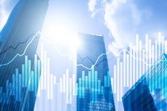 Διπλά οικονομικά γραφικές παραστάσεις και διαγράμματα έκθεσης Έννοια επιχειρήσεων, οικονομικών και επένδυσης απεικόνιση αποθεμάτων