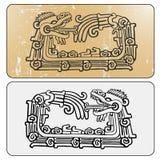 Διπλά maya ouroboros Quetzalcoatl φιδιών διανυσματική απεικόνιση