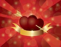 Διπλές καρδιές ημέρας βαλεντίνων με το βέλος και το έμβλημα Στοκ Εικόνες