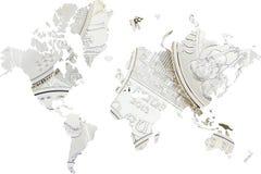 Διπλή έκθεση με τα ασημένια νομίσματα παγκόσμιων χαρτών ως υπόβαθρο Στοκ Φωτογραφίες