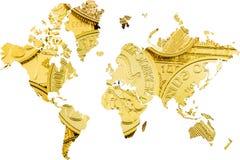 Διπλή έκθεση με τον παγκόσμιο χάρτη και τα χρυσά νομίσματα ως υπόβαθρο Στοκ Εικόνες