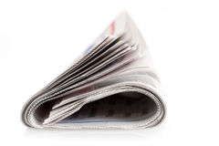 Διπλωμένη απομονωμένη εφημερίδα Στοκ Εικόνες