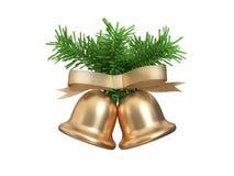 Διπλός-δίδυμη μεταλλική χρυσή Χριστουγέννων κουδουνιών τρισδιάστατη απόδοση φύλλων χριστουγεννιάτικων δέντρων κορδελλών πράσινη απεικόνιση αποθεμάτων