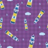 Διπλός τετραγωνικός φάρος, σύννεφο, πτώση νερού ελεύθερη απεικόνιση δικαιώματος