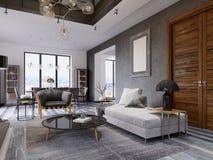 Διπλό διαμέρισμα σοφίτα-ύφους πολυτέλειας, σύγχρονοι έπιπλα και τουβλότοιχοι με την εστία σχεδιαστών στον εσωτερικό, εσωτερικός ελεύθερη απεικόνιση δικαιώματος