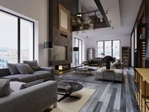 Διπλό διαμέρισμα σοφίτα-ύφους πολυτέλειας, σύγχρονοι έπιπλα και τουβλότοιχοι με την εστία σχεδιαστών στον εσωτερικό, εσωτερικός απεικόνιση αποθεμάτων