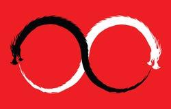 Διπλό σύμβολο απείρου δράκων διανυσματική απεικόνιση