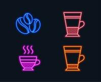 Διπλό latte, φασόλια καφές-μούρων και creme καφέδων εικονίδια Σημάδι Latte Φλυτζάνι τσαγιού, φασόλια καφέ, καυτός καφές διανυσματική απεικόνιση