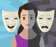 Διπολικές διπλές μάσκες θεάτρων γυναικών κοριτσιών διανοητηκής διαταραχής προσωπικότητας Στοκ Εικόνα