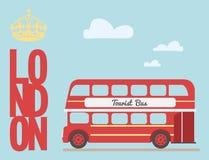 Διπλά κινούμενα σχέδια λεωφορείων καταστρωμάτων από το βρετανικό κόκκινο του Λονδίνου συμβόλων τουριστών της Αγγλίας, λέξη Στοκ φωτογραφία με δικαίωμα ελεύθερης χρήσης