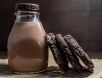 Διπλά μπισκότα σοκολάτας που κλίνουν ενάντια στο γάλα σοκολάτας Στοκ Φωτογραφία