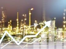 Διπλά οικονομία γραφικών παραστάσεων έκθεσης και υπόβαθρο διυλιστηρίων πετρελαίου Οικοδομικής Βιομηχανίας Στοκ φωτογραφίες με δικαίωμα ελεύθερης χρήσης