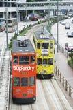 Διπλά τραμ καταστρωμάτων αγαπημένα μέσα του Χονγκ Κονγκ transpotation στοκ φωτογραφίες με δικαίωμα ελεύθερης χρήσης