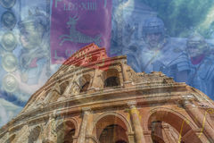 Διπλή έκθεση με την άποψη fisheye έξω από το Colosseum και τη Ρώμη στοκ φωτογραφίες με δικαίωμα ελεύθερης χρήσης