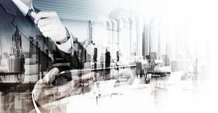 Διπλή έκθεση του επιχειρηματία Στοκ Εικόνες