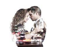 Διπλή έκθεση του όμορφου νέου ζεύγους Στοκ Φωτογραφίες