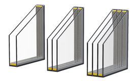 Διπλή τριπλή και τετραπλάσια μονωμένη παράθυρα τοποθέτηση υαλοπινάκων τρισδιάστατος δώστε, απομονωμένος στο άσπρο υπόβαθρο Στοκ εικόνες με δικαίωμα ελεύθερης χρήσης
