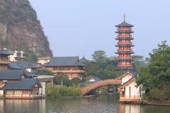 Διπλωμένη παγόδα landcape Guilin Κίνα Hill μπροκάρ Στοκ Εικόνα