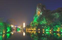 Διπλωμένη παγόδα landcape Guilin Κίνα Hill μπροκάρ Στοκ φωτογραφία με δικαίωμα ελεύθερης χρήσης