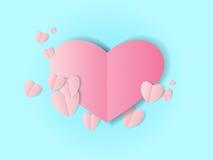 Διπλωμένη ροζ καρδιά εγγράφου Στοκ Εικόνες