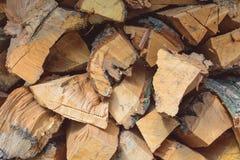 Διπλωμένοι πριονισμένοι κορμοί των δέντρων με το φλοιό Στοκ Φωτογραφίες