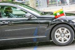 Διπλωματικό αυτοκίνητο της Βιρμανίας κατά τη διάρκεια της στρατιωτικής παρέλασης &#x28 Defile&#x29  στη Δημοκρατία ημέρα &#x28 Ba Στοκ Φωτογραφία